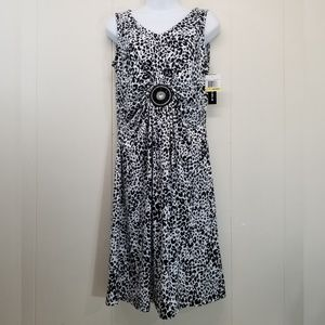 Nina Leonard M Dress Black White Animal Print